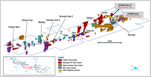Mineral Prospectivity Indices (MPI) Map of Alpha Property with stripping locations