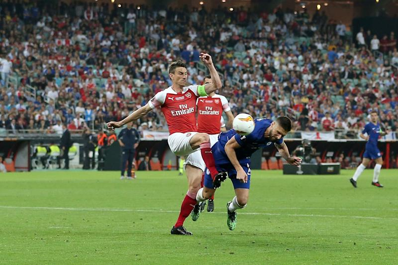 (L-R) Laurent Koscielny of Arsenal FC, Olivier Giroud of Chelsea FC 1-0 during the UEFA Europa League final match between Chelsea FC and Arsenal FC at the Baki Olimpiya Stadionu on May 29, 2019 in Baku, Azerbaijan(Photo by VI Images via Getty Images)