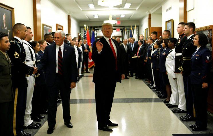 President Trump and Vice President Mike Pence greet military personnel at the Pentagon