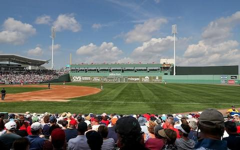 """View of """"green monster"""" outfield wall at JetBlue Park - Credit: MLB"""