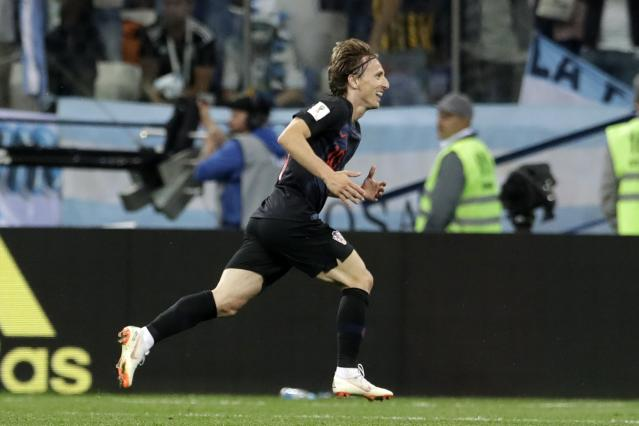 Croatia's Luka Modric celebrates after scoring his side's second goal during the group D match between Argentina and Croatia at the 2018 soccer World Cup in Nizhny Novgorod Stadium in Nizhny Novgorod, Russia, Thursday, June 21, 2018. (AP Photo/Petr David Josek)