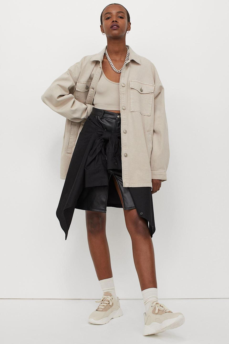 <p>You'll throw this versatile <span>Oversized Shirt Jacket</span> ($35) over your favorite jeans, leather pants or skirt.</p>