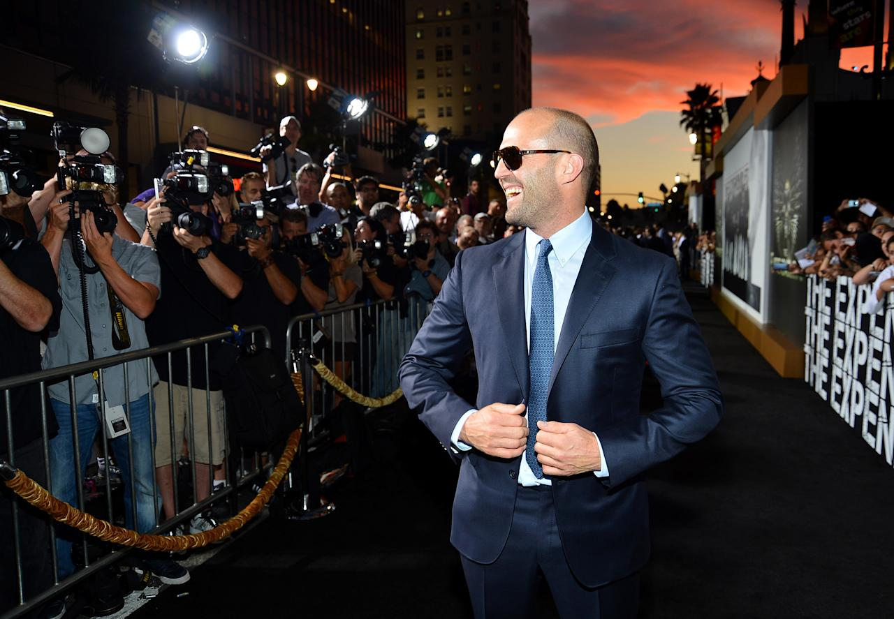 "HOLLYWOOD, CA - AUGUST 15:  Actor Jason Statham arrives at Lionsgate Films' ""The Expendables 2"" premiere on August 15, 2012 in Hollywood, California.  (Photo by Frazer Harrison/Getty Images)"