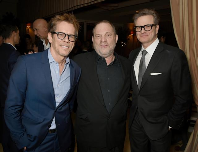 Actor Kevin Bacon, Weinstein and host Colin Firth attend a dinner in in Los Angeles, California, on Feb. 24, 2017. (David M. Benett via Getty Images)