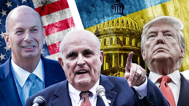 Gordon Sondland, Rudy Giuliani and Donald Trump. (Yahoo News photo illustration; photos: AP, Getty Images)