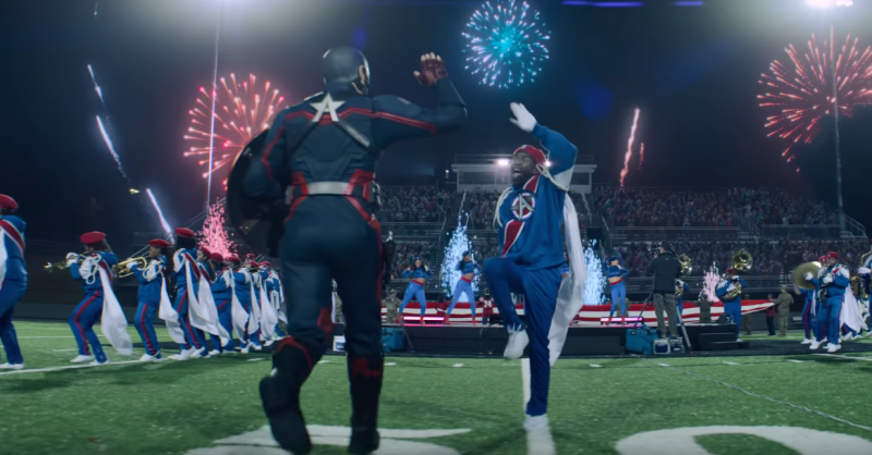 A scene from Disney+ show <i>The Falcon and The Winter Soldier</i> from the new Super Bowl Big Game Spot. (Disney)