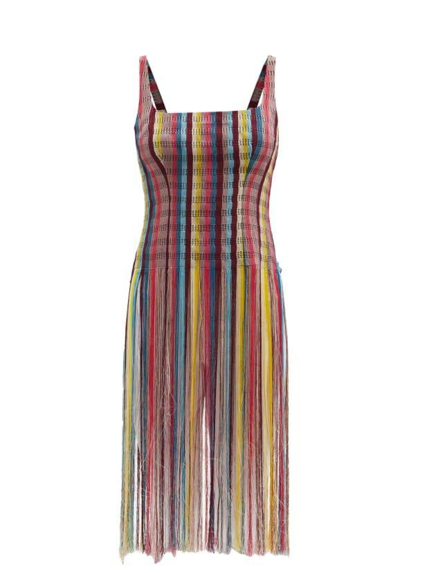 """<p>Kenneth Ize Fringed Stripe Aso-Oke Top, $1,167 (from $2,334), <a href=""""https://rstyle.me/+KYJYZl-JQ3E8arrOL8DozA"""" rel=""""nofollow noopener"""" target=""""_blank"""" data-ylk=""""slk:available here"""" class=""""link rapid-noclick-resp"""">available here</a> (sizes US 4-10). </p>"""