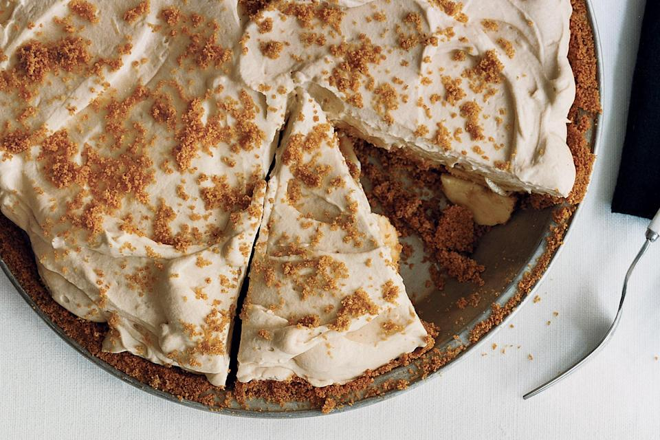 """This banana cream pie is all about the subtleties, from the hint of curry powder in the crust to the dark rum that gives the cream filling a punch. <a href=""""https://www.epicurious.com/recipes/food/views/banana-rum-cream-pie-237682?mbid=synd_yahoo_rss"""" rel=""""nofollow noopener"""" target=""""_blank"""" data-ylk=""""slk:See recipe."""" class=""""link rapid-noclick-resp"""">See recipe.</a>"""