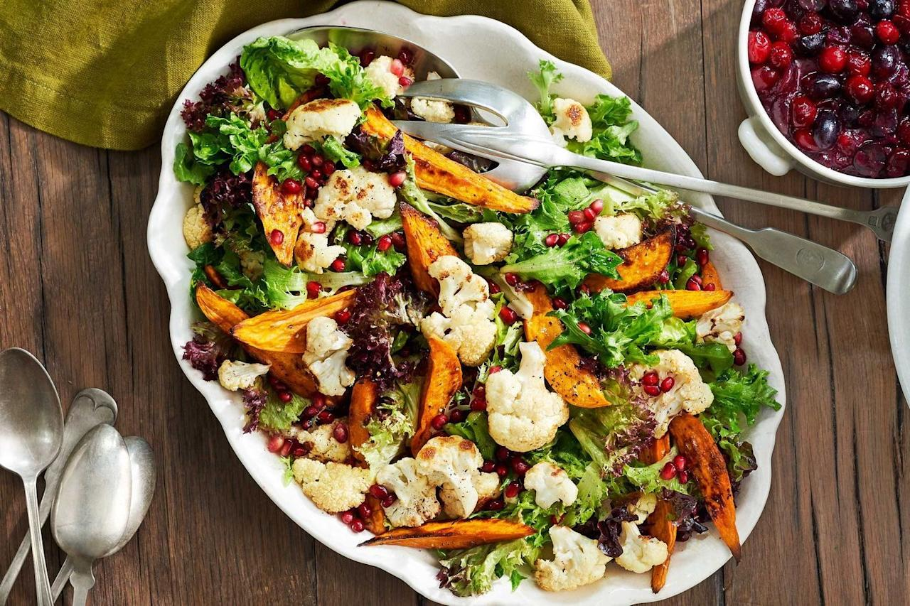 """<p>Thanksgiving is right around the corner, and there's no doubt you've started to think about your <a href=""""https://www.countryliving.com/food-drinks/g637/thanksgiving-menus/"""">Thanksgiving menu</a>. But if you've recently decided to give up meat, or you're expecting any non-meat-eating guests at your dinner table, you'll definitely want to add some vegetarian Thanksgiving recipes to your feast. In fact, vegetarian dishes are more than just a way to make sure your plant-based guests can enjoy their dinner, they're a great way to round out the holiday meal and expand the flavor profiles of the table. </p><p>The recipes here range from sides and entrées to <a href=""""https://www.countryliving.com/food-drinks/g1384/thanksgiving-desserts/"""">Thanksgiving desserts</a>, but they all have two things in common: They're free of any meat or fish, and they're completely delicious. There are plenty of tried and true <a href=""""https://www.countryliving.com/food-drinks/g1395/best-thanksgiving-recipes/"""">Thanksgiving recipes</a> that are typically vegetarian, of course. Things like <a href=""""https://www.countryliving.com/food-drinks/g2696/mashed-potato-recipes/"""">mashed potatoes</a>, roast green beans, squash, salad, and mac and cheese are naturally meat free. But this list includes plenty of easy-to-swap recipes like <a href=""""https://www.countryliving.com/food-drinks/g908/stuffing-recipes/"""">stuffing recipes</a>, casseroles, and <a href=""""https://www.countryliving.com/food-drinks/g893/gravy-recipe-1109/"""">gravy recipes</a> that your meat-loving friends and family might not even notice, but your vegetarian guests will be grateful for. </p><p>And finally, there are plenty of drool-worthy centerpiece dishes to choose from. If you're feeling adventurous, try new recipes like asparagus casserole, stuffed <a href=""""https://www.countryliving.com/food-drinks/g4685/acorn-squash/"""">acorn squash</a> with mushroom and cranberries, and pumpkin risotto to spice up your meal. Who knows? You might even find """