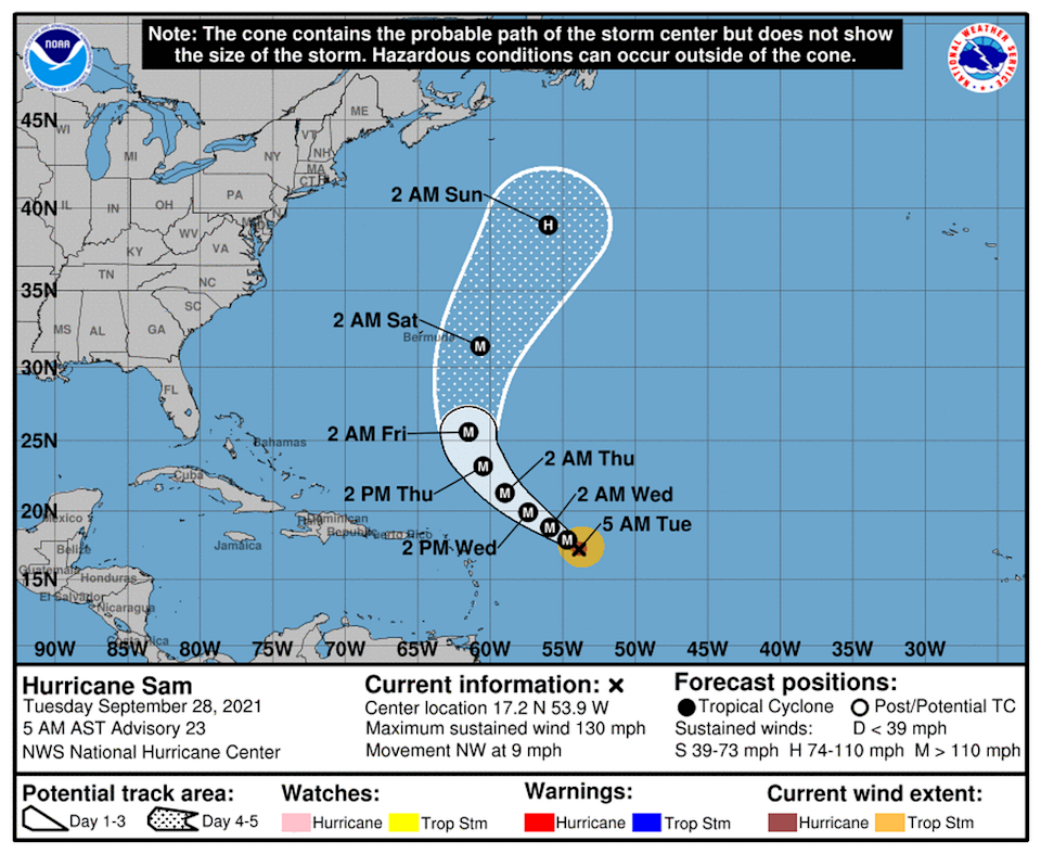 Hurricane Sam, still a category 4 storm, is powering through the Atlantic but expected to turn to the north before to reaches the Antilles.