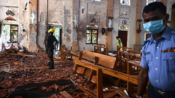 PHOTO: Security personnel inspect the interior of St Sebastian's Church in Negombo on April 22, 2019, a day after the church was hit in series of bomb blasts targeting churches and luxury hotels in Sri Lanka. (Jewel Samad/AFP/Getty Images)