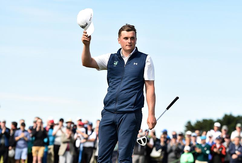 Ireland's James Sugrue celebrates on the 18th green after putting to win the R&A Amateur Championship at Portmarnock Golf Club in Dublin.