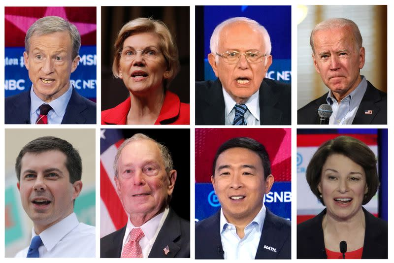 Eight 2020 Democratic presidential candidates are seen in a combination image from file photos
