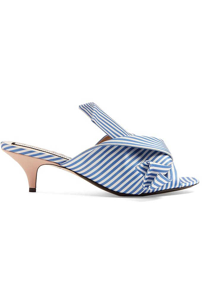 """No. 21 Stripe-Print Kitten Heel Mules, $445; at <a rel=""""nofollow"""" href=""""http://www.matchesfashion.com/us/products/1077605"""" rel="""""""">Matches Fashion</a>"""