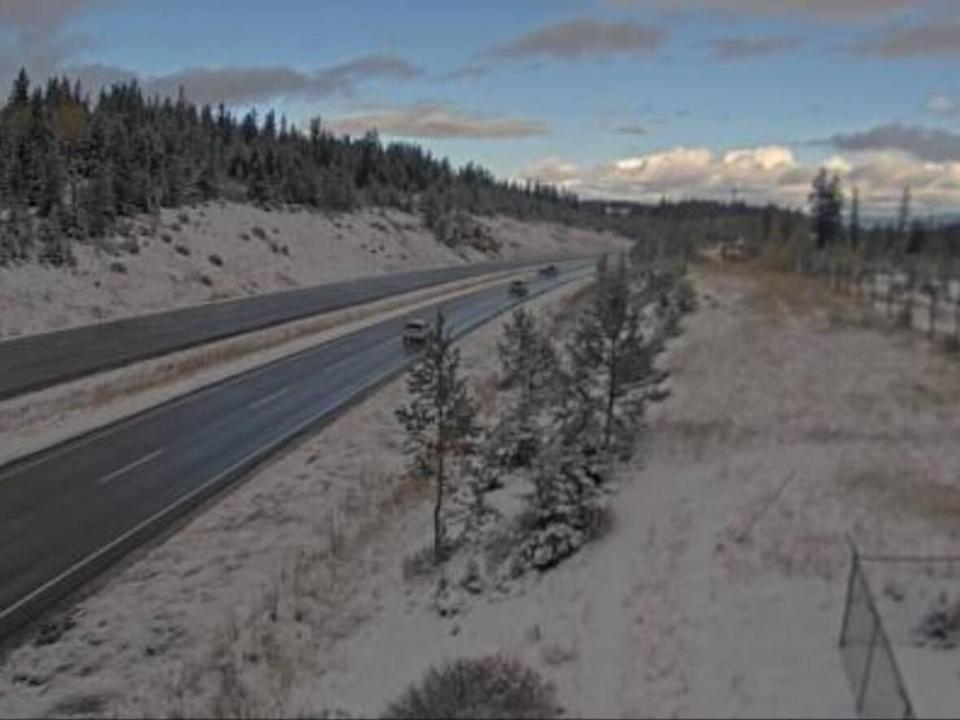 A traffic camera on the Coquihalla, south of Kamloops, shows snow accumulating on the morning of Oct. 10. Environment Canada is warning of snow on most of the province's southern highways. (DriveBC - image credit)