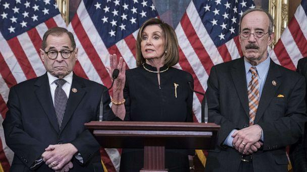PHOTO: Speaker of the House Nancy Pelosi delivers remarks alongside Jerry Nadler, D-N.Y., and Eliot Engel, D-N.Y., following the House of Representatives vote to impeach President Donald Trump on Dec. 18, 2019 in Washington, D.C. (Sarah Silbiger/Getty Images)