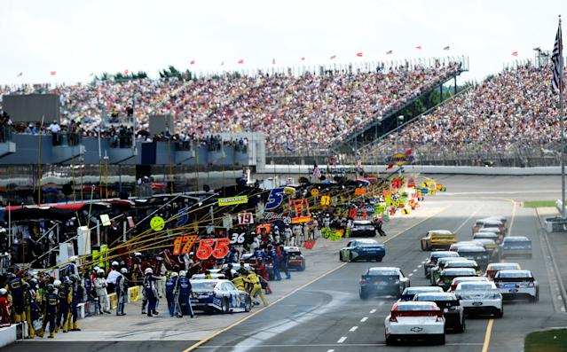 BROOKLYN, MI - JUNE 17: Cars pit during the NASCAR Sprint Cup Series Quicken Loans 400 at Michigan International Speedway on June 17, 2012 in Brooklyn, Michigan. (Photo by Jared C. Tilton/Getty Images)
