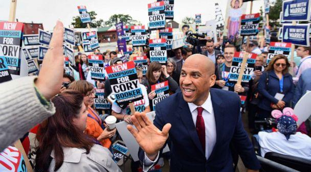 PHOTO: Democratic presidential candidate and Senator Cory Booker greets supporters at the New Hampshire Democratic Party state convention in Manchester, N.H., Sept. 7, 2019. (Gretchen Ertl/Reuters)