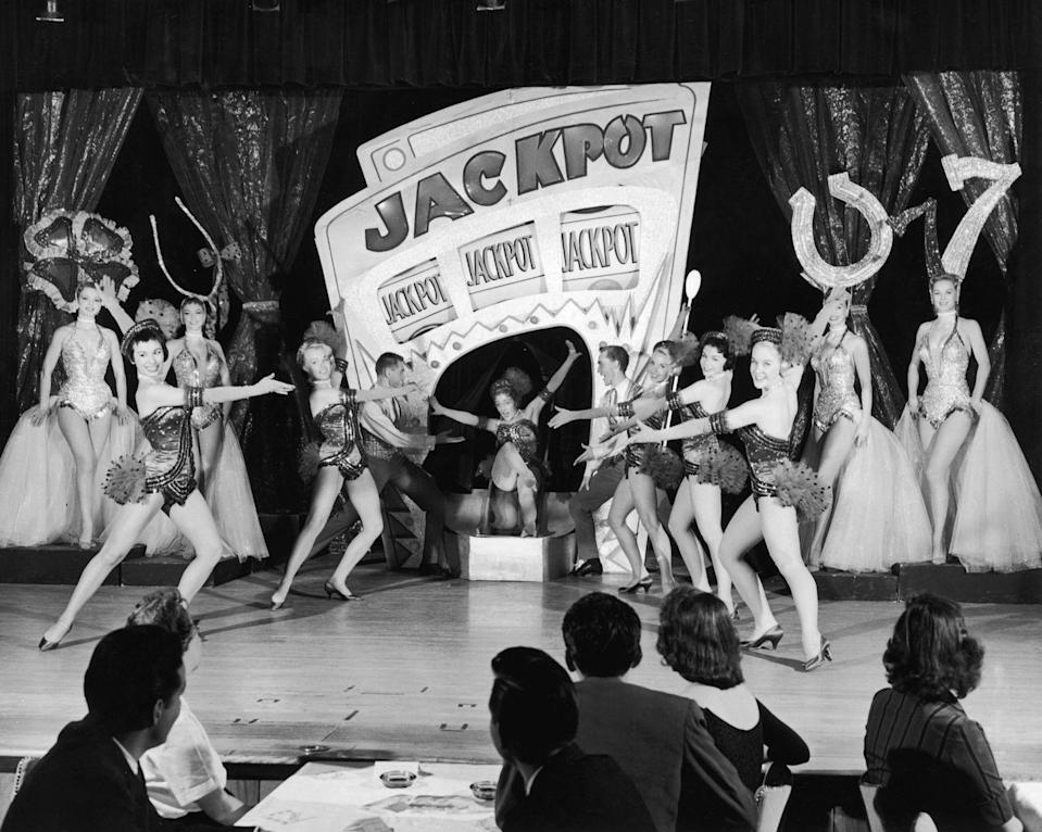 <p>Showgirls perform Jackpot at a casino in 1955. The showgirls worked constantly, sometimes even up to three appearances in a day.</p>