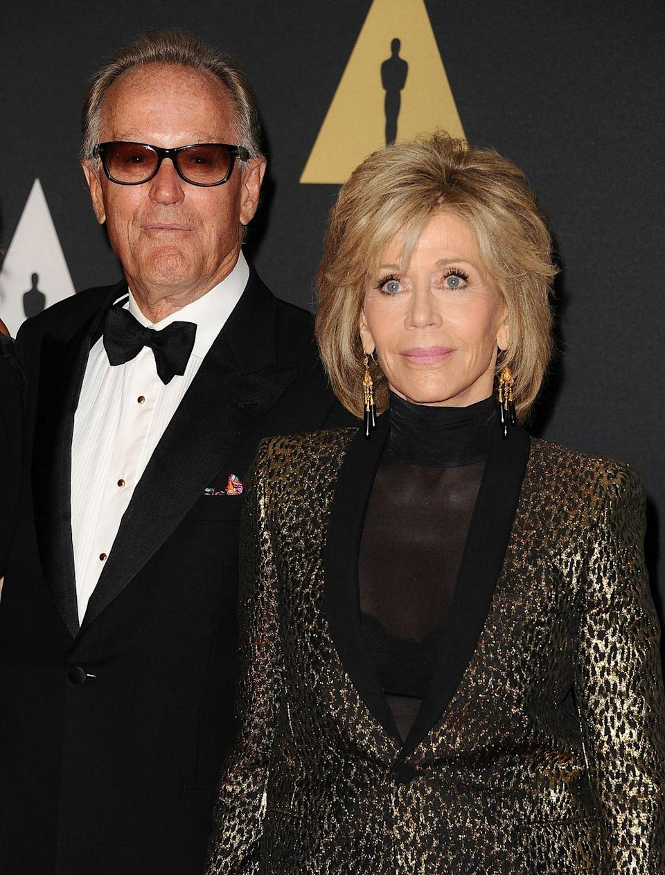 <p>The Fondas grew up as Hollywood royalty. While Peter was the spitting image of his actor father, Henry Fonda, his sister also inherited the family's facial characteristics. We're talking square chins, oval-shaped faces, and blue eyes. </p>