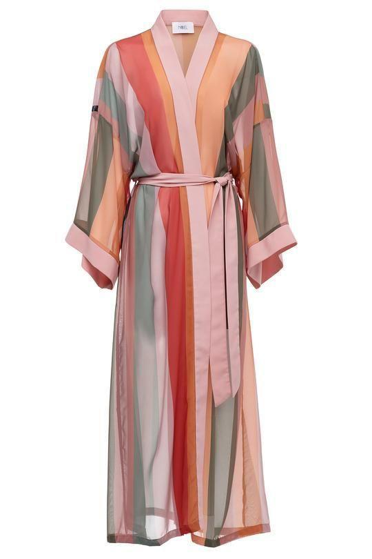 """<p><strong>Fe Noel</strong></p><p>fenoel.com</p><p><strong>$398.00</strong></p><p><a href=""""https://fenoel.com/collections/shop-all/products/la-luna-stripe-sheer-robe"""" rel=""""nofollow noopener"""" target=""""_blank"""" data-ylk=""""slk:Shop Now"""" class=""""link rapid-noclick-resp"""">Shop Now</a></p><p>Made to order, the bespoke nature of this multicolor wrap-silhouette makes it a thoughtful addition to a curated wardrobe. </p>"""