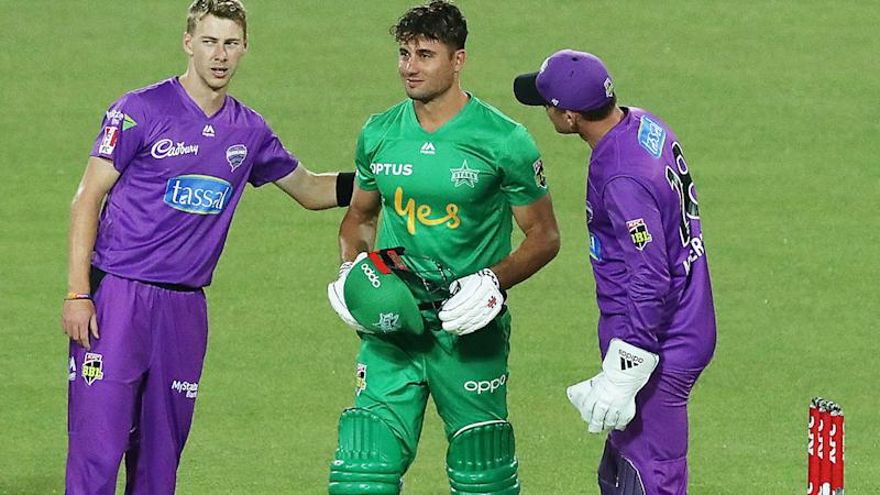 Riley Meredith, pictured here checking on Marcus Stoinis after the scary moment.