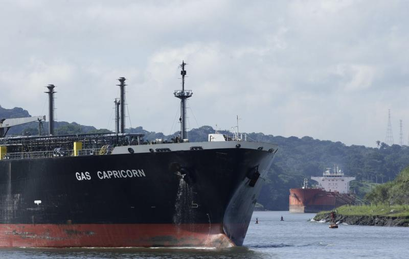 Two cargo ships in the Panama Canal