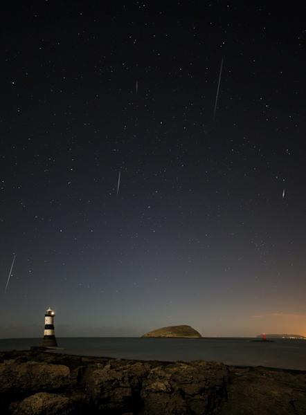 Astrophotographer Adrian Kingsley-Hughes provided a composite image of Geminid meteors taken Dec. 13, 2013.