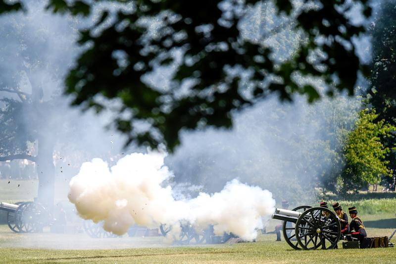 King's Troop Royal Horse Artillery perform a gun salute to honour President Trump's state visit and to mark the 66th anniversary of Queen Elizabeth's coronation at Green Park on June 3, 2019 in London, England. (Photo: Peter Summers/Getty Images)
