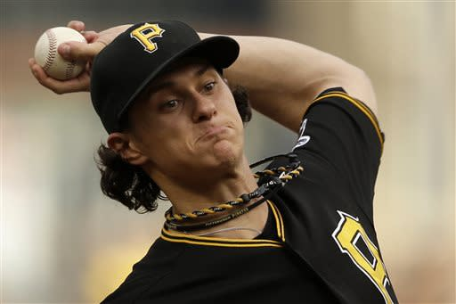 Pittsburgh Pirates starting pitcher Jeff Locke delivers during the first inning of a baseball game against the Philadelphia Phillies in Pittsburgh, Wednesday, July 3, 2013. (AP Photo/Gene J. Puskar)