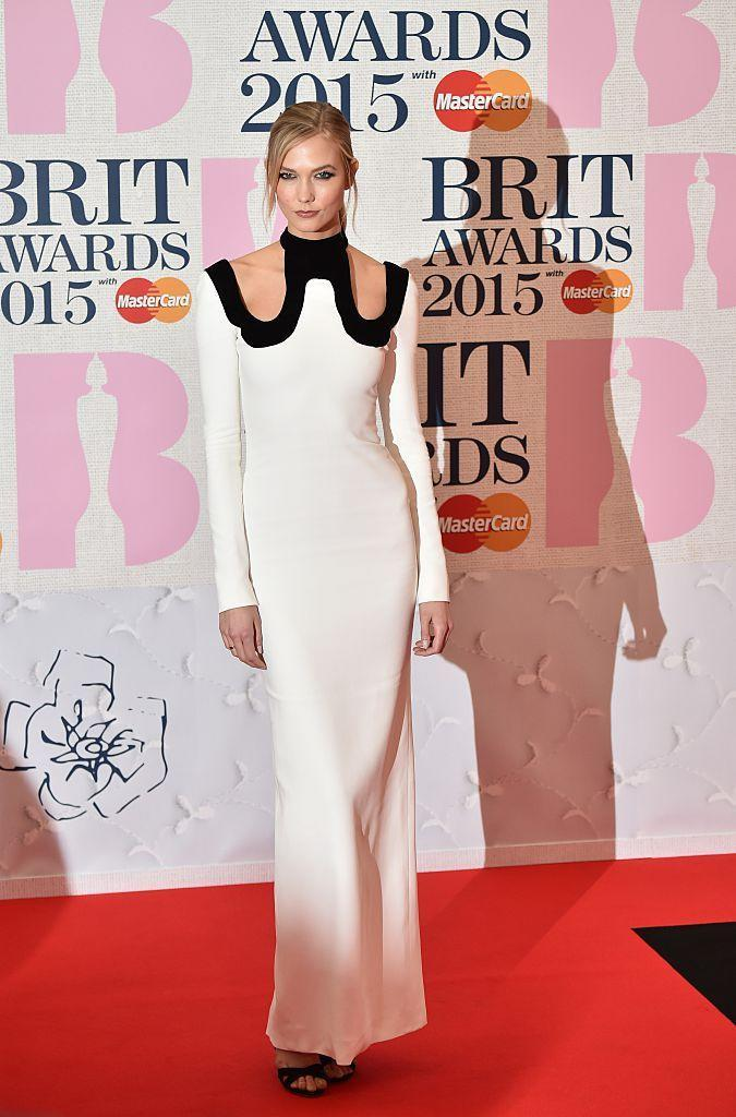 <p>The American model jetted across the pond to present the 'British Video of the Year', wearing a black and white Tom Ford gown.</p>