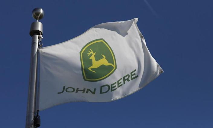 """<span class=""""element-image__caption"""">John Deere: layoffs have followed in the wake of the trade wars.</span> <span class=""""element-image__credit"""">Photograph: Daniel Acker/Reuters</span>"""