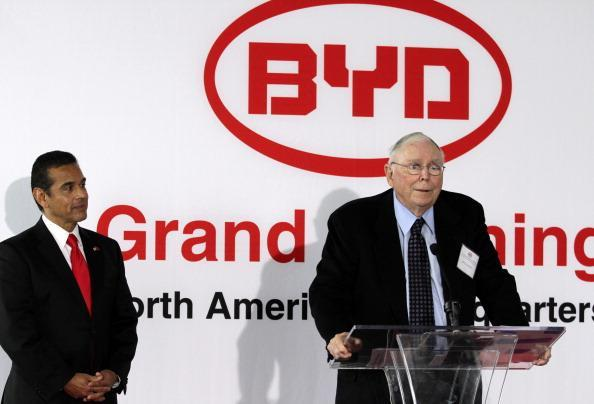 Charles Munger, vice chairman of Berkshire Hathaway Inc., speaks at the grand opening of the North American headquarters of Chinese carmaker BYD. (Gerry Images)