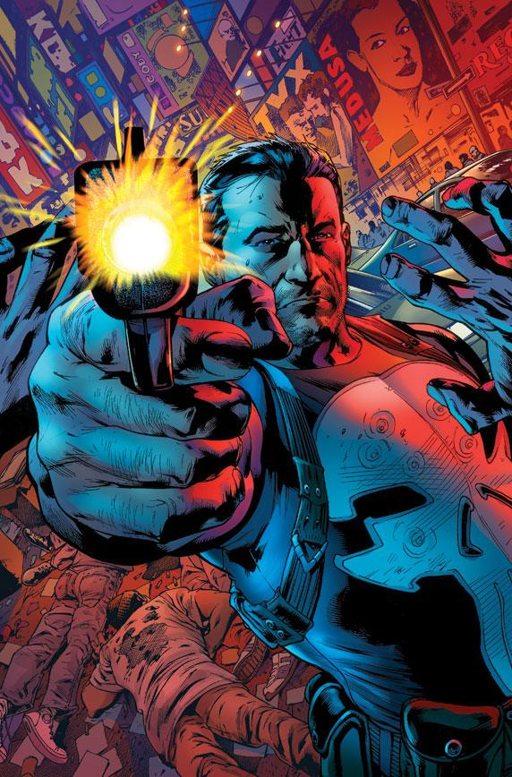 """In this comic book image released by Marvel Comics, the character Frank Castle, aka The Punisher, is shown. Readers of the upcoming  """"Punisher,"""" will see the lead character dealing with a new type of criminal gang that is decidedly far more advanced socially and technologically than his traditional mob opponents. Writer Greg Rucka says the book will retain its traditional hard and brutal edge but with more super-villains to contend with, too. (AP Photo/Marvel Comics)"""