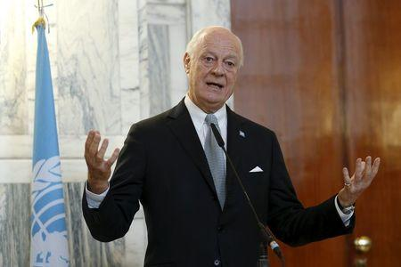 United Nations special envoy for Syria Staffan de Mistura talks during a joint news conference with Italian Foreign Minister Paolo Gentiloni in Rome