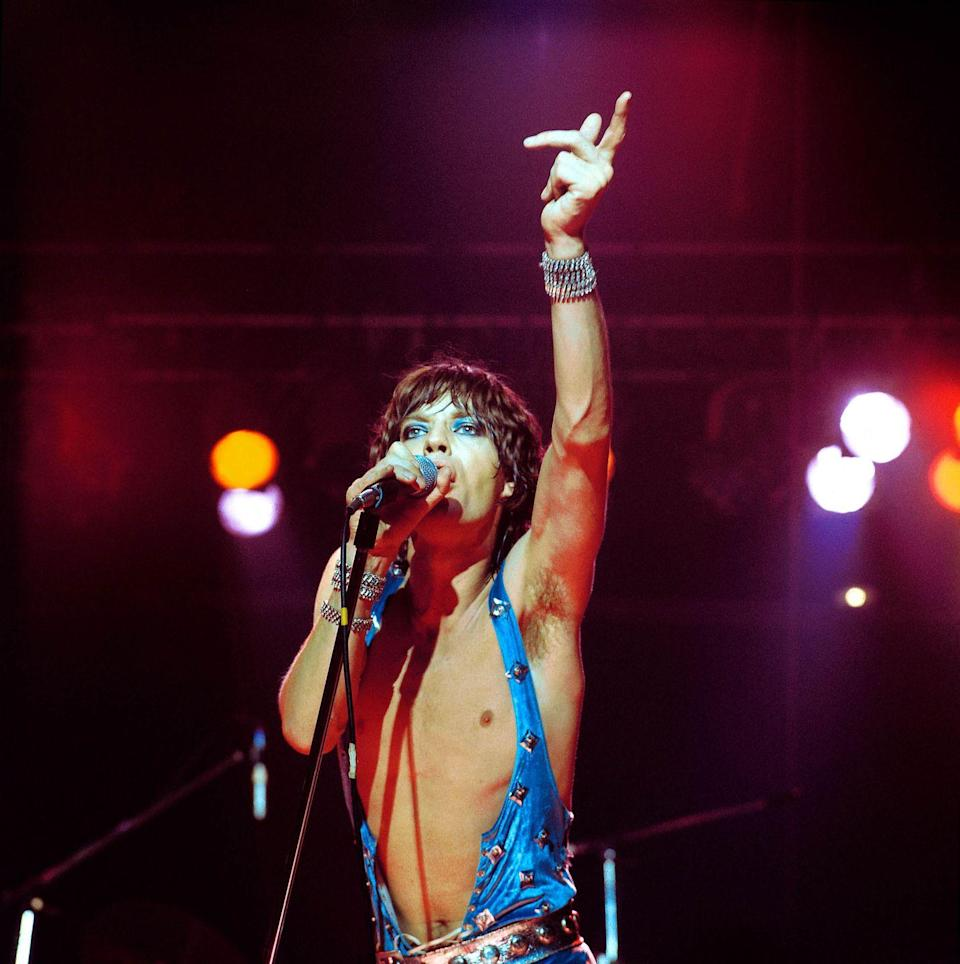 <p>Mick Jagger performing live onstage in 1973.</p>
