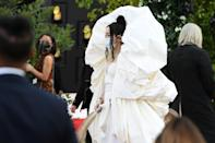 <p>Wearing a Schiaparelli Couture runway finale look with a matching mask and Giuseppe Zanotti shoes.</p>