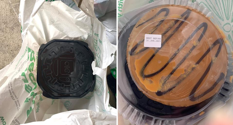 This cake was packed upside down when it was delivered on Thursday. Source: Supplied