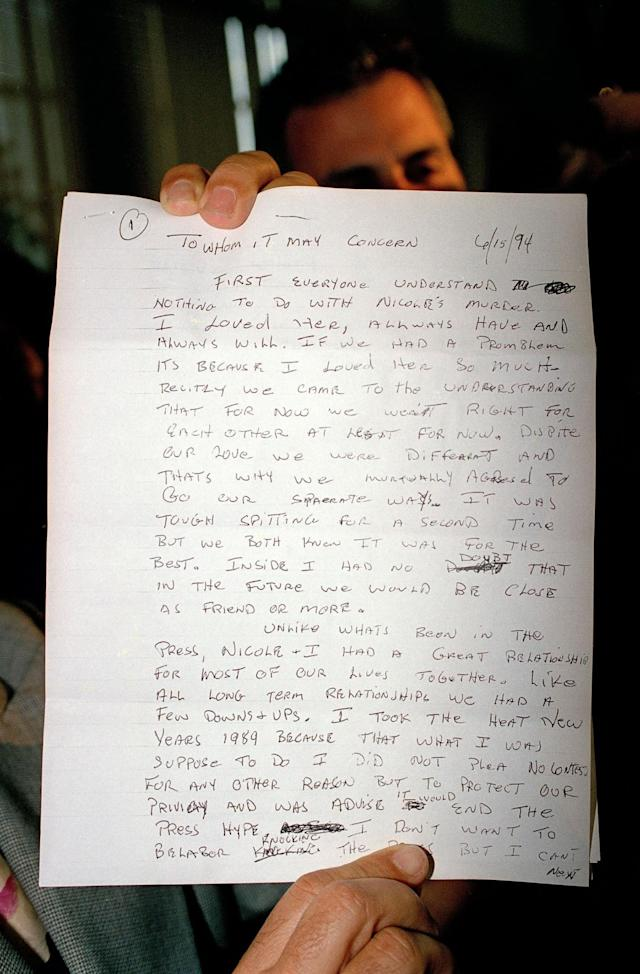 <p>This is the first page of a four-page letter written by O.J. Simpson concerning charges against him in connection with the murders of his ex-wife Nicole, and Ronald Goldman, shown June 17, 1994. As of early evening, Simpson was leading authorities on in a car chase outside the Los Angeles city limits. (Photo: Mark J. Terrill/AP) </p>