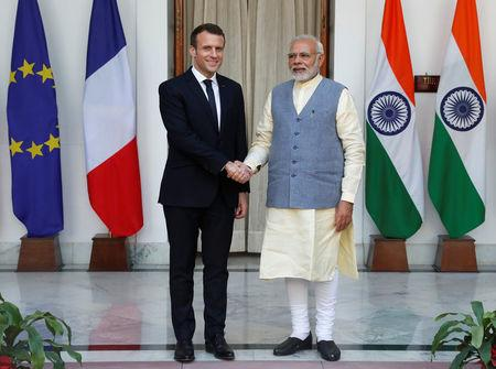 French president Emmanuel Macron arrives in India, greeted by PM Modi