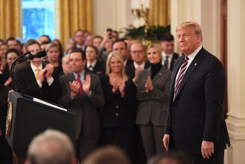 President Donald Trump speaking in the East Room of the White House on Thursday   SAUL LOEB/AFP via Getty