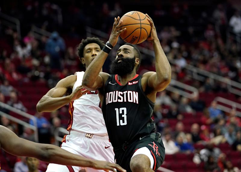 Harden's big night rallies Rockets past Heat
