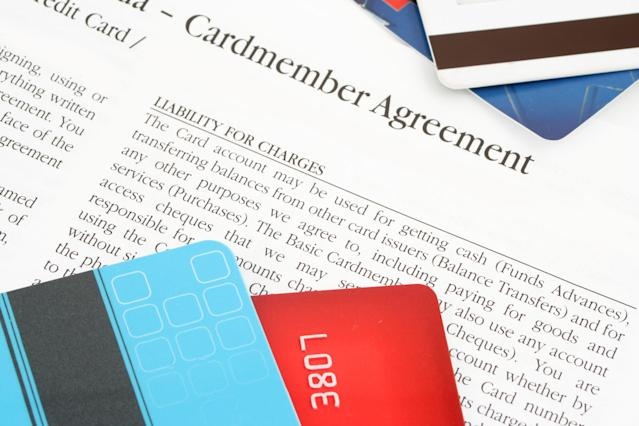 A credit card agreement from the bank