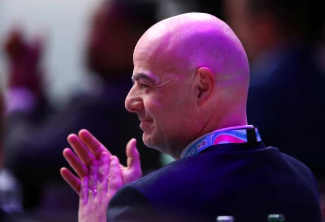FILE PHOTO: FIFA president Infantino reatcs after his election as IOC member in Lausanne