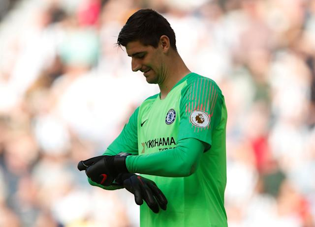 "Soccer Football - Premier League - Newcastle United vs Chelsea - St James' Park, Newcastle, Britain - May 13, 2018 Chelsea's Thibaut Courtois Action Images via Reuters/Lee Smith EDITORIAL USE ONLY. No use with unauthorized audio, video, data, fixture lists, club/league logos or ""live"" services. Online in-match use limited to 75 images, no video emulation. No use in betting, games or single club/league/player publications. Please contact your account representative for further details."
