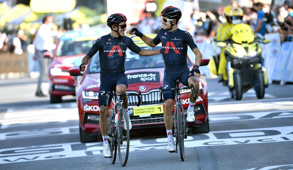 LA ROCHESURFORON FRANCE  SEPTEMBER 17 Arrival  Richard Carapaz of Ecuador and Team INEOS Grenadiers  Michal Kwiatkowski of Poland and Team INEOS Grenadiers  Celebration  Fans  Public  during the 107th Tour de France 2020 Stage 18 a 175km stage from Mribel to La Roche sur Foron 543m  TDF2020  LeTour  on September 17 2020 in La RochesurForon France Photo by AnneChristine Poujoulat  PoolGetty Images