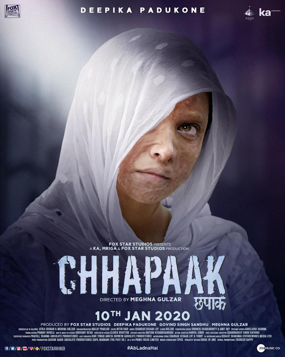 <strong>Starring: </strong>Deepika Padukone, Vikrant Massey; <strong>Director: </strong>Meghna Gulzar; <strong>Release date: </strong>January 10