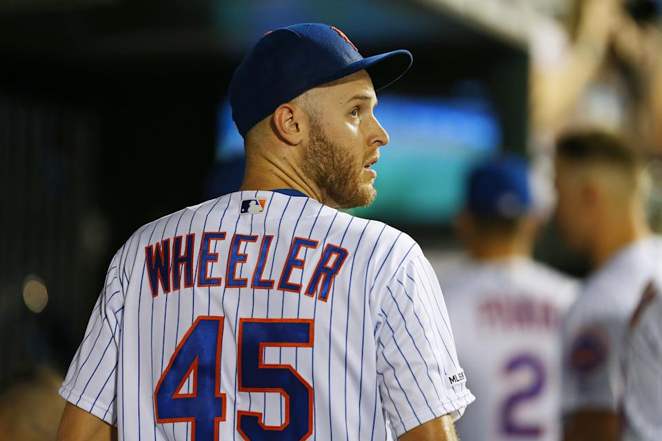 NEW YORK, NY - SEPTEMBER 15: Zack Wheeler #45 of the New York Mets in action against the Los Angeles Dodgers during of a game at Citi Field on September 15, 2019 in New York City. (Photo by Rich Schultz/Getty Images)