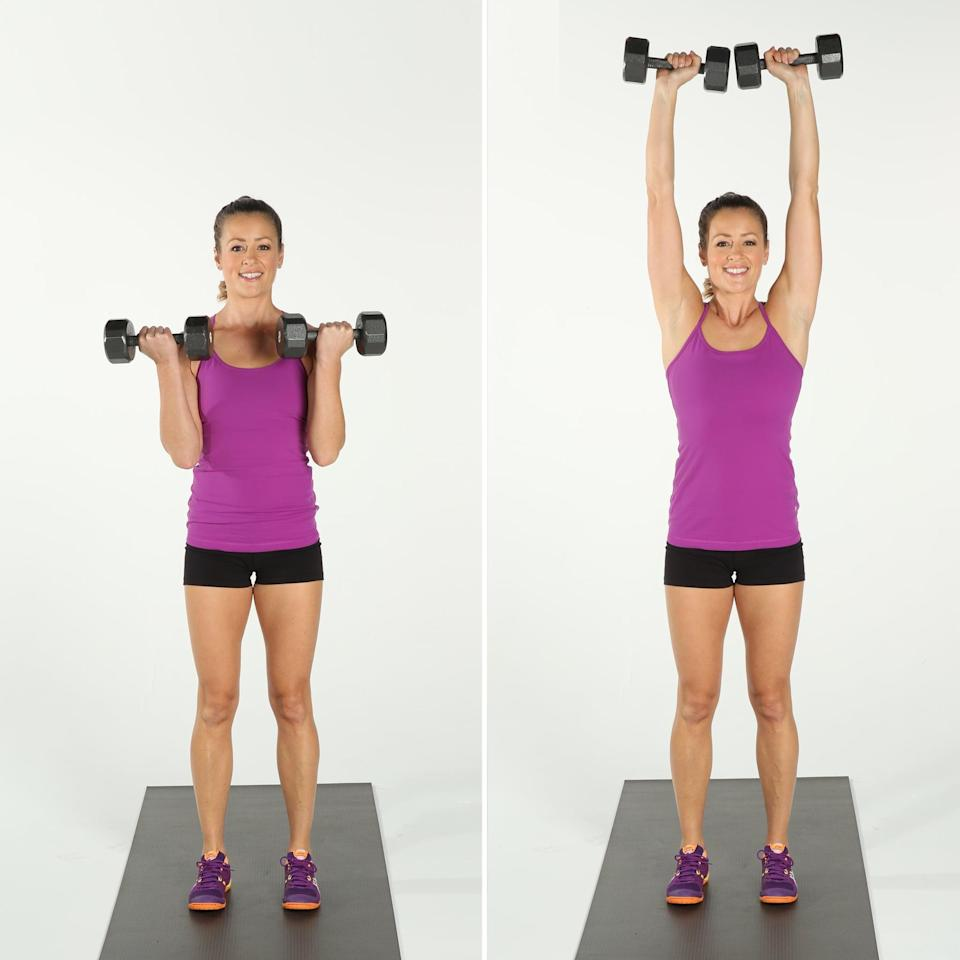 <ul> <li>Stand with your feet directly under your hips, holding a dumbbell in each hand, palms facing out. Bend your elbows, bringing the weights to your shoulders, performing a bicep curl.</li> <li>Stabilize your torso and keep your arms moving upward, straightening your arms above you, performing an overhead press with your palms facing out.</li> <li>Bend your elbows coming back to the end of your bicep curl, then straighten your arms coming back to the starting position to complete one rep.</li> </ul>