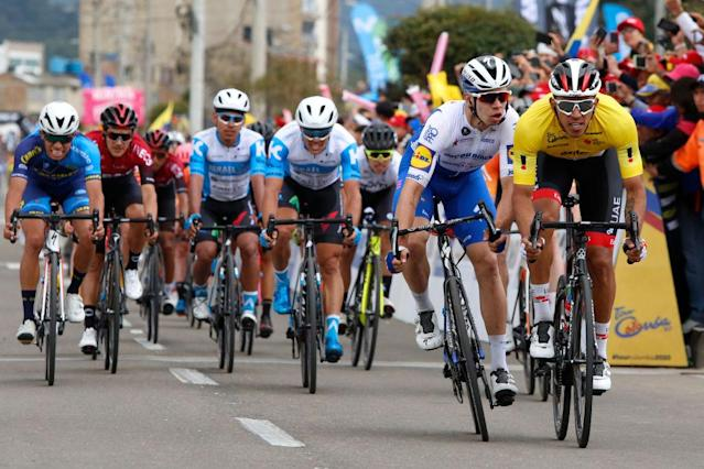 ZIPAQUIR COLOMBIA FEBRUARY 15 Arrival Sprint Juan Sebastian Molano Benavides of Colombia and UAE Team Emirates Yellow Points Jersey Alvaro Jose Hodeg Chagui of Colombia and Team Deceuninck Quick Step Jhonatan Restrepo Valencia of Colombia and Team Androni Giocattoli Sidermec Travis Mccabe of The United States and Team Israel Start Up Nation Colin Joyce of The United States and Team Rally Cycling Juan Francisco Rosales Hernandez of Mexico and Team Canels Pro Cycling Richard Carapaz of Ecuador and Team INEOS during the 3rd Tour of Colombia 2020 Stage 5 a 1805km stage from Paipa to Zipaquir TourColombiaUCI TourColombia2020 on February 15 2020 in Zipaquir Colombia Photo by Maximiliano BlancoGetty Images